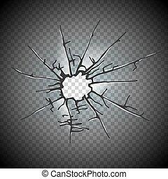 Broken window glass. Realistic daylight design vector illustration.