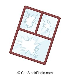Broken window icon in cartoon style isolated on white background. Trash and garbage symbol stock vector illustration.