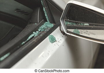 Broken window on modern sports car