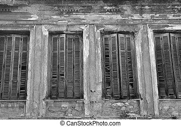 broken window shutters