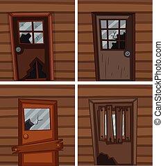 Broken windows and doors illustration