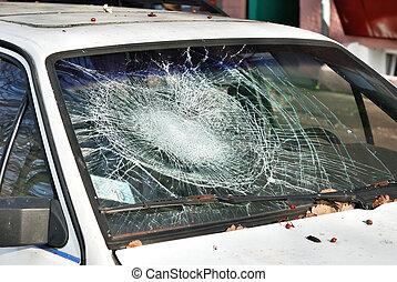 Broken windshield - Broken white car windshield