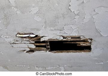 broken wooden ceiling