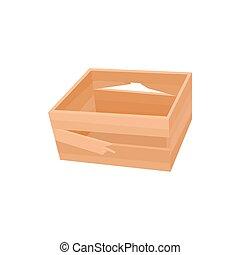 Broken wooden crate icon, cartoon style