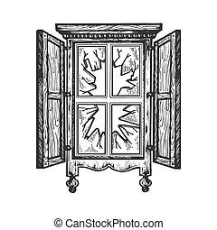 Broken wooden old window engraving vector illustration....