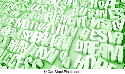 """Broken Words in Light Green Backdrop "" - ""A reflective 3d..."
