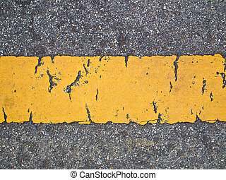 Broken yellow line on The road - This is a line sign on...