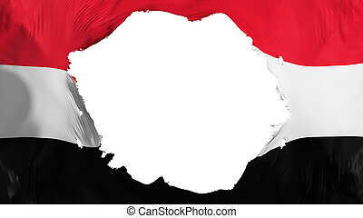 Broken Yemen flag, white background, 3d rendering