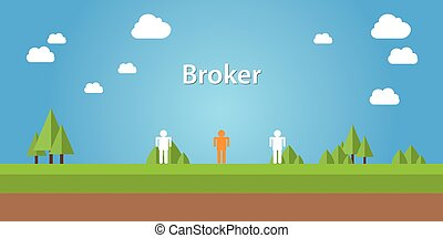 broker illustration with sign  connection between two people