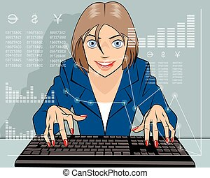 Broker trading on the stock - Vector illustration of a ...
