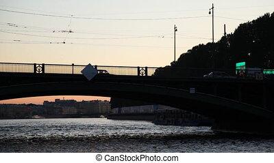 Brokerage bridge in St. Petersburg at night