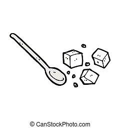 brokken, lepel, komisch, spotprent, suiker