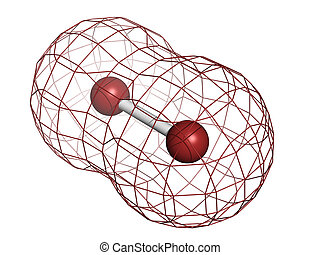 bromine, molecolare, model., (br2), degli elementi della natura