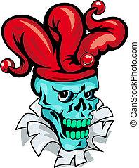 bromista, caricatura, cráneo