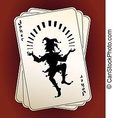 bromista, tarjetas, silueta, juego