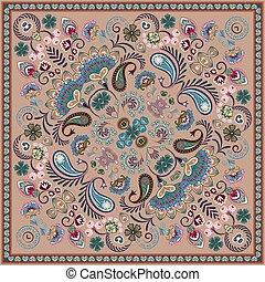 bron, paisley, skwer, pattern., wektor, bandana, print.