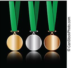 bronce de plata de oro, medallas