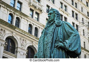 bronce, estatua, en, iglesia trinidad, cementerio, ciudad nueva york
