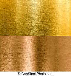 bronce, fondos, metal, textura, oro