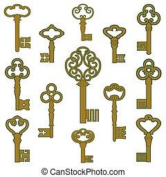 bronce, llaves, con, pátina, decoración
