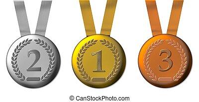 bronce, medalla, plata, ilustración, oro