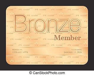 bronce, miembro, club, tarjeta, con, pequeño, estrellas, patrón