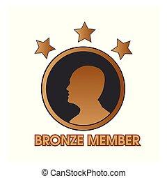 bronce, miembro, con, humano, y, estrella, icono, tela, icono