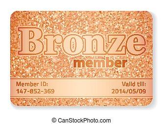 bronce, miembro, vip, tarjeta, compuesto, de, brilla