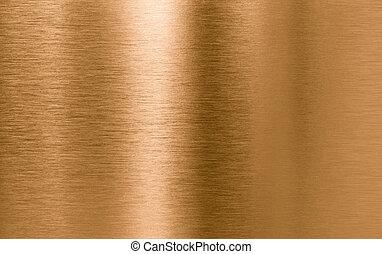 bronce, o, cobre, metal, textura, plano de fondo