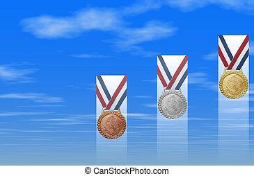 bronce, plata, oro