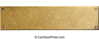 bronce, plato metal, con, cuatro, tornillo, pernos, aislado