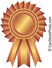 bronce, premio, cinta, (vector)