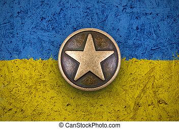 bronce, stjerne, på, flag ukraine, baggrund