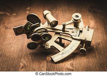 bronce, viejo, sextante