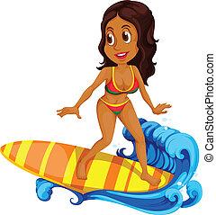 bronceado, surf, niña