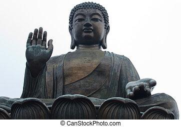 bronceado tian, gigante, buddha, en, po, lin, monasterio