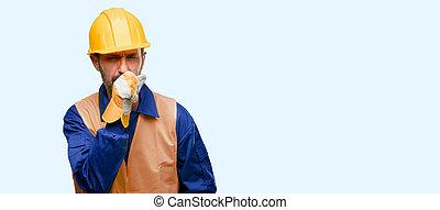 bronchite, concept, asthme, ouvrier, ou, souffrance, tousser, malade, médecine, construction, homme, personne agee, ingénieur