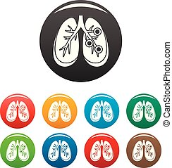 Bronchitis lungs icons set color