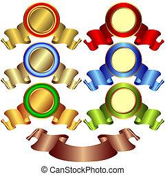 brons, banieren, gouden, (vector), zilverachtig