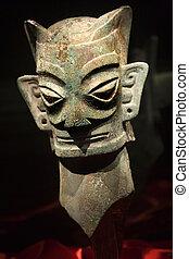 brons, främling, maskera, staty, sanxingdui, museum,...