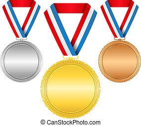 brons, linten, gouden, medailles, zilver