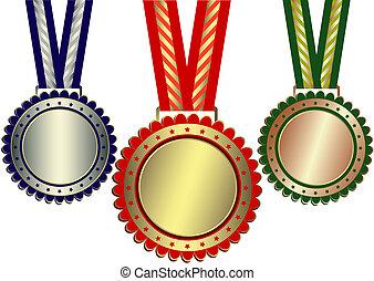 brons, prijzen, zilver, (vector), goud