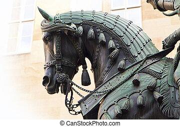 brons, ryttare, staty, specificera