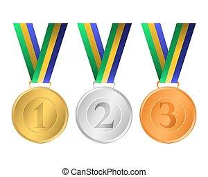 brons, zilver, medailles, goud