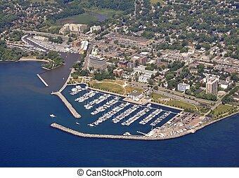 Bronte Marina aerial - aerial view of Oakville Bronte marina...