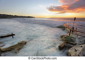 bronte, strand, hos, solopgang