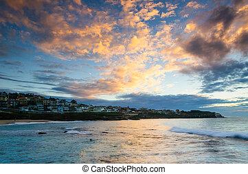 bronte, strand, solopgang