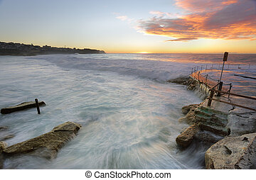 bronte, tengerpart, -ban, napkelte