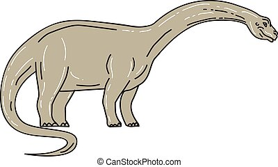 Brontosaurus Dinosaur Looking Down Mono Line - Illustration...