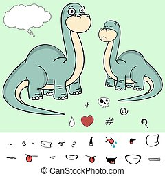 brontosaurus expressions cartoon2